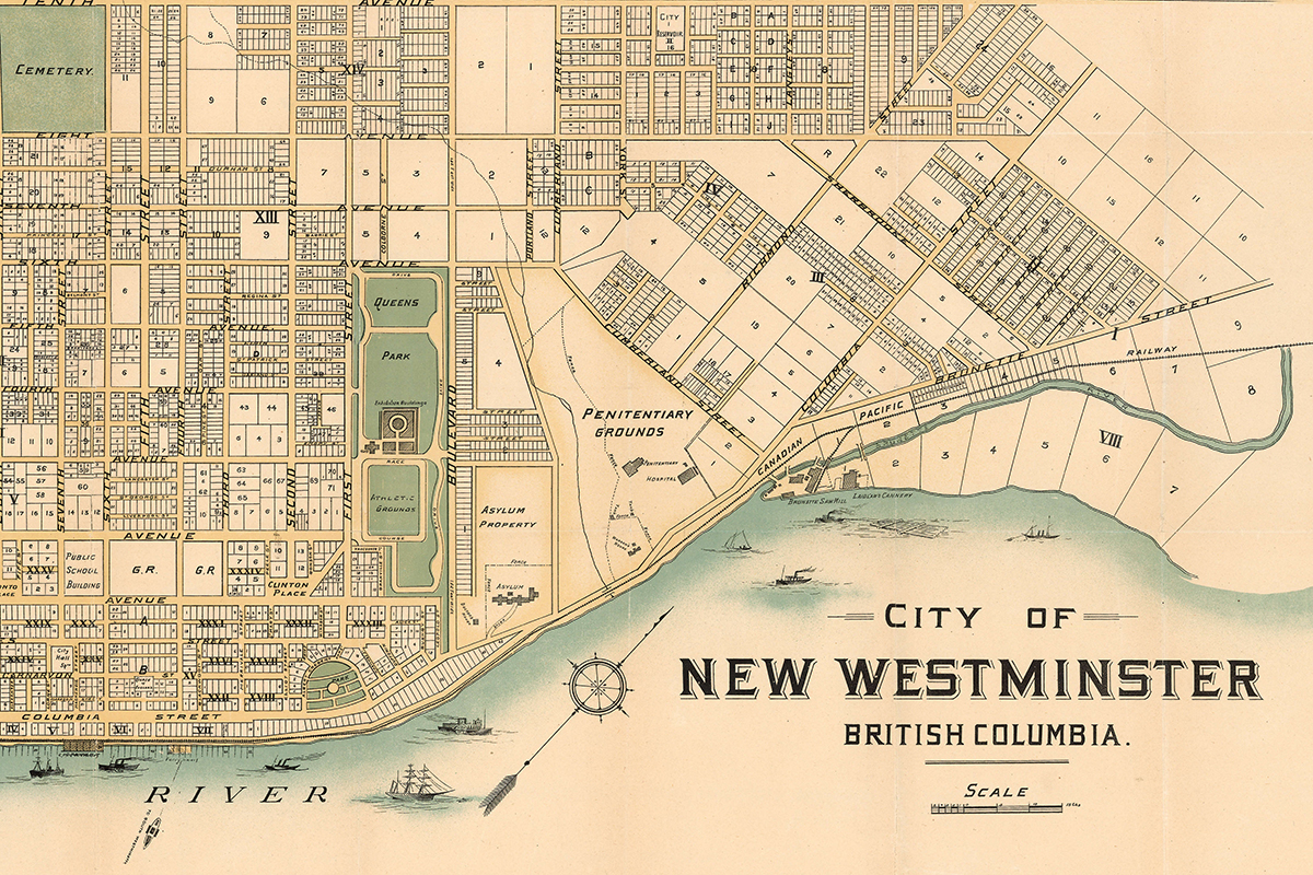 An old-fashioned illustrated map of New Westminster BC