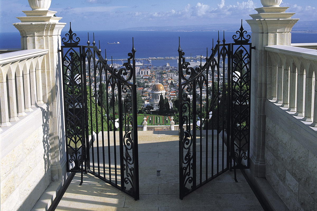 Photo of a gate opening to a synagogue